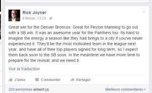 Rick Joyner - Défaite des Carolina Panthers